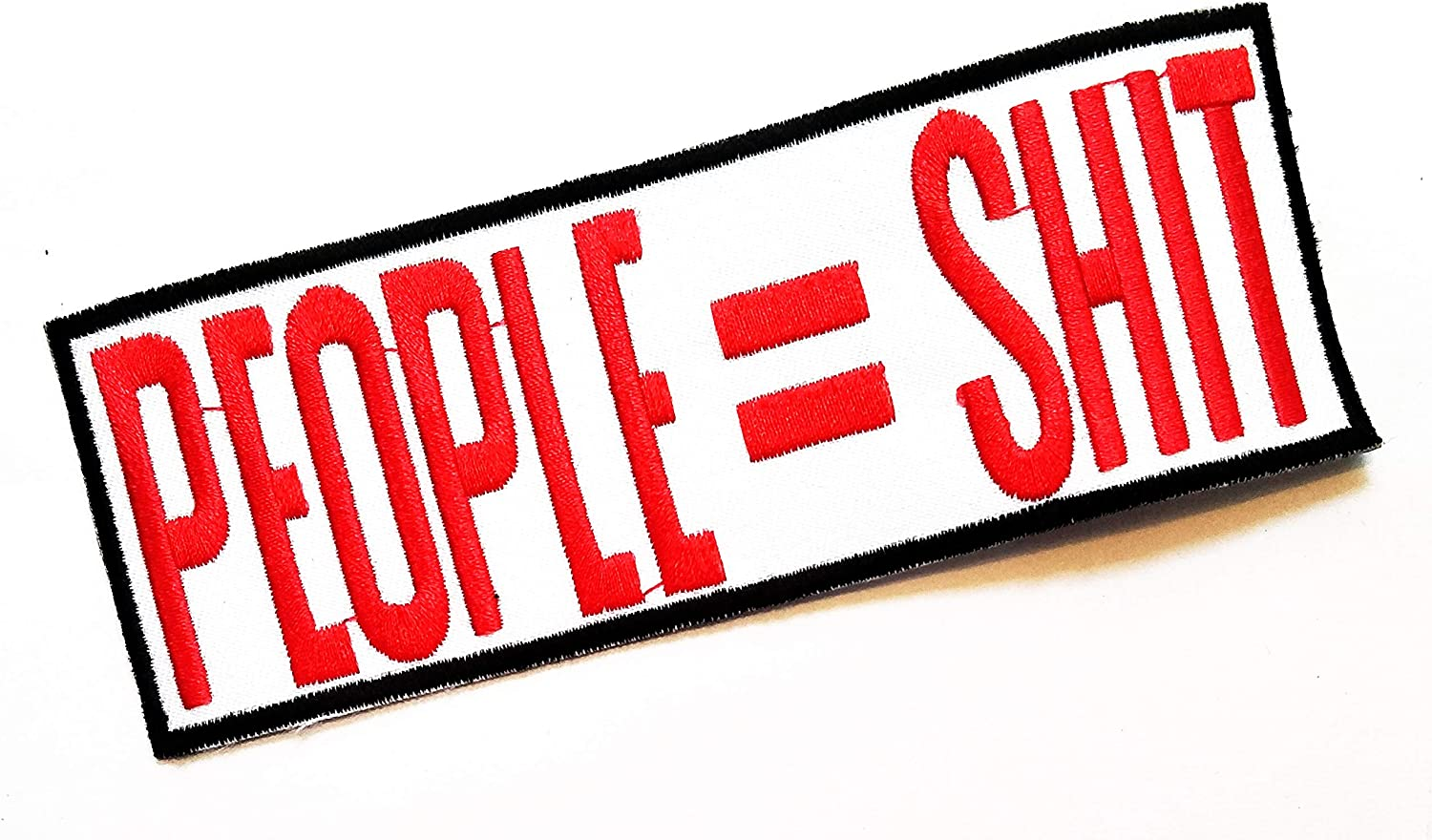 Nipitshop Patches Red Letter People Shit Words Funny Patch Funny Motorcycle Biker MC Club Patch Embroidered Iron On Patch for Clothes Backpacks T-Shirt Jeans Skirt Vests Scarf Hat Bag