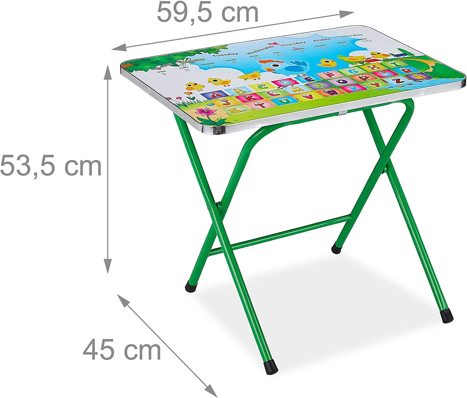 Blue Design Folds Compactly Folding Metal Children/'s Furniture Cartoon Relaxdays Kid/'s Foldable Table /& Chair Set