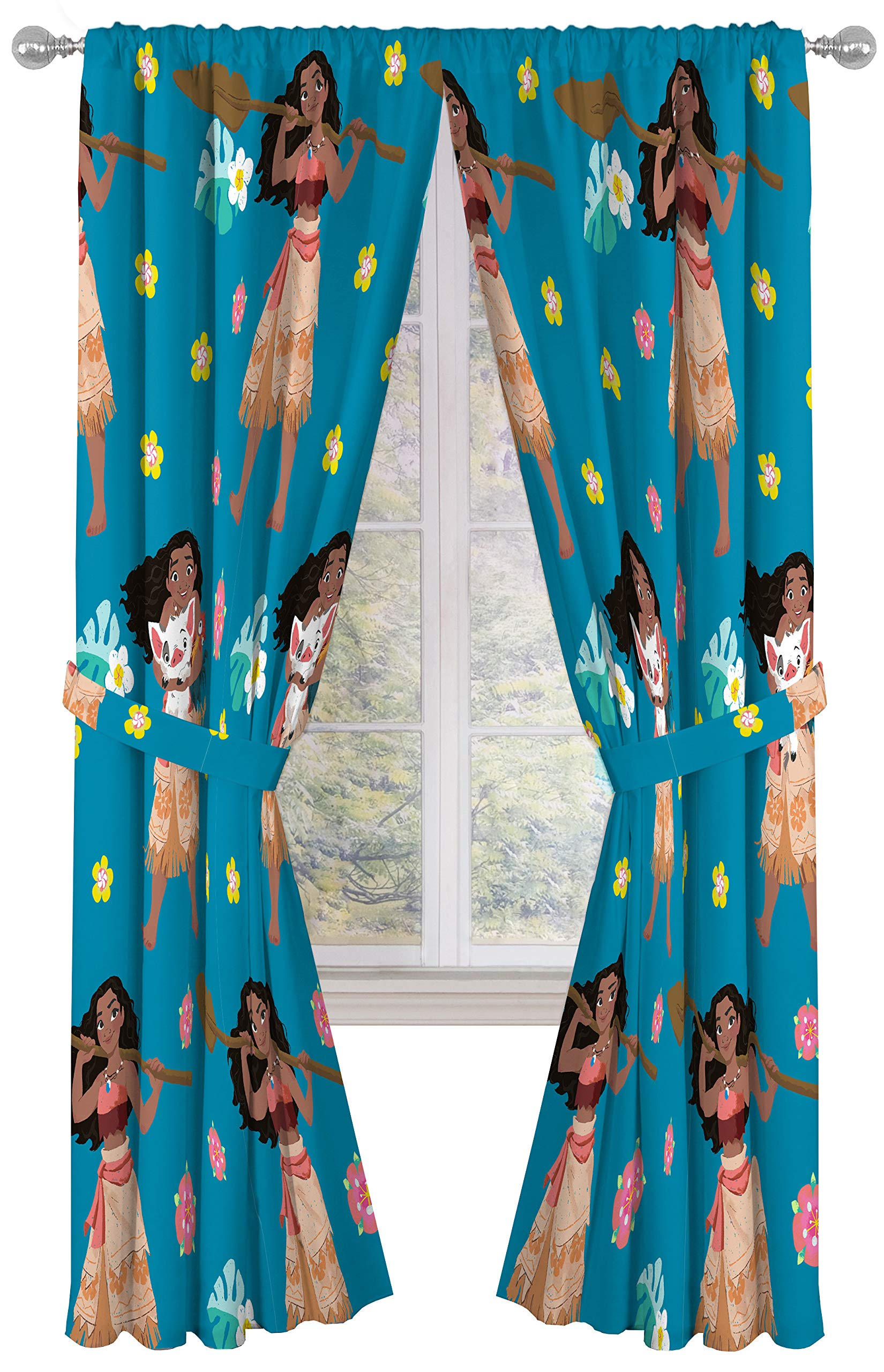 Disney Moana Flower Power Dark 84'' Inch Drapes 4 Piece Set - Beautiful Room Décor & Easy Set Up, Bedding Features Pua & HeiHei - Window Curtains Include 2 Panels & 2 Tiebacks (Official Disney Product)