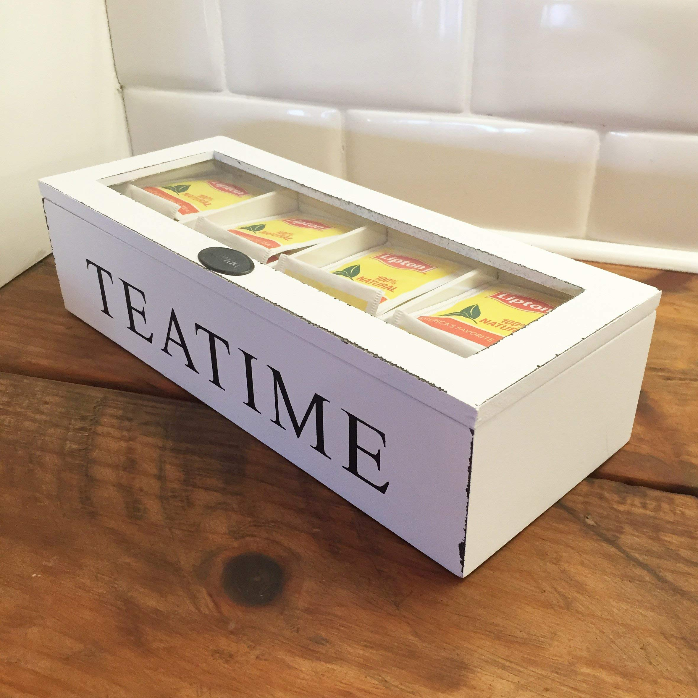 Whole House Worlds, Tea Time Chest, 10 3/4 x 4 1/4 x 2 3/4 Inches, Distressed Wood, Glass Top, 4 Compartments, Rustic White by Whole House Worlds (Image #5)