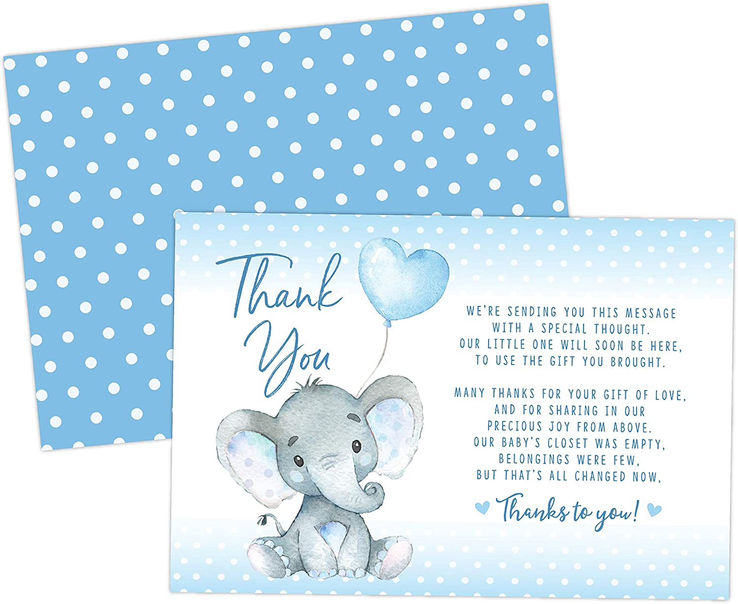 Elephant Baby Shower Thank You Cards 20 Count Including Envelopes