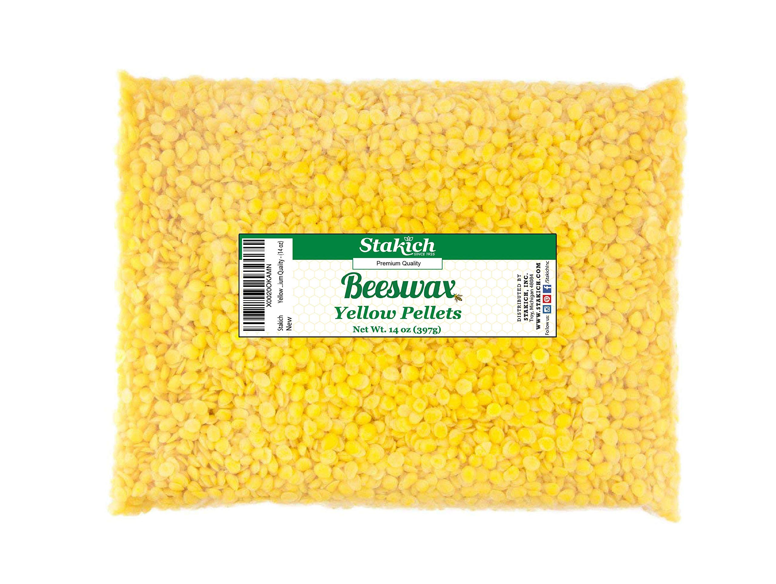 Stakich Yellow Beeswax Pellets Premium Cosmetic Grade, 5 Pound