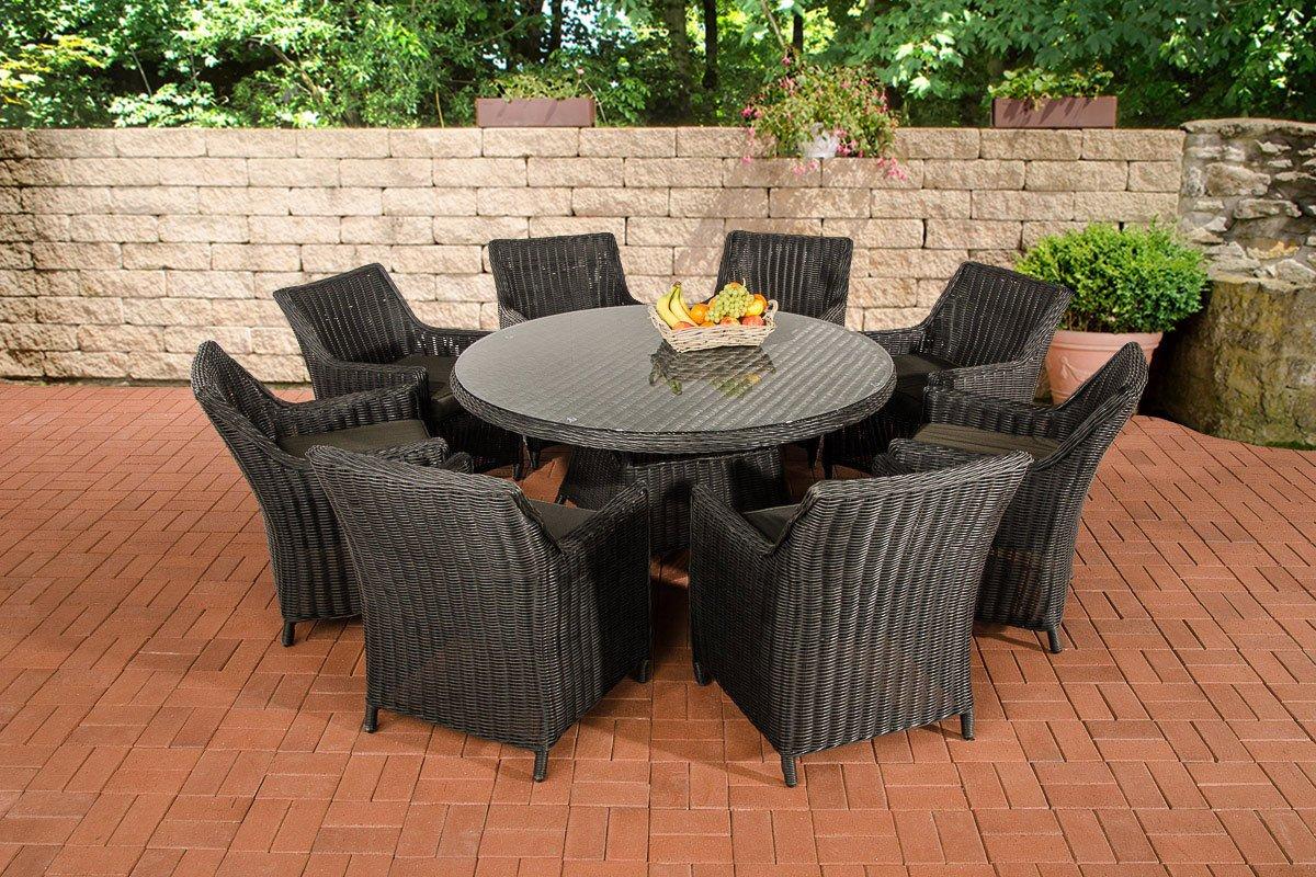 CLP Sitzgruppe GINOSA XL aus Polyrattan schwarz, rundes 5mm Rattan, Aluminium Gestell (8x Sessel Sandnes + Tisch Ø 150 cm + 10 cm Sitzkissen) schwarz, Bezugfarbe anthrazit