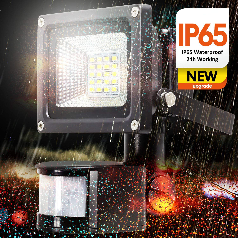 Luz de seguridad de 10 vatios SAMNUE con luces de sensor de movimiento Luces de inundación al aire libre Luces halógenas de alto rendimiento 1000 lúmenes 60 ...