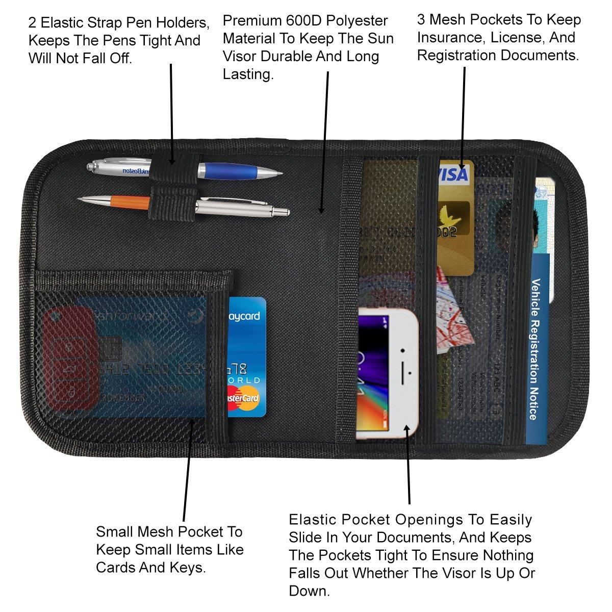 Personal Belonging Storage Pouch Organizer 2 Pack Auto Interior Accessories Pocket Organizer Registration and Document Holder lebogner Car Sun Visor Organizer