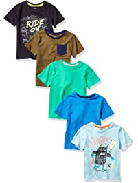 Spotted Zebra Amazon Brand Boy's Toddler & Kids 5-Pack Short-Sleeve T-Shirts