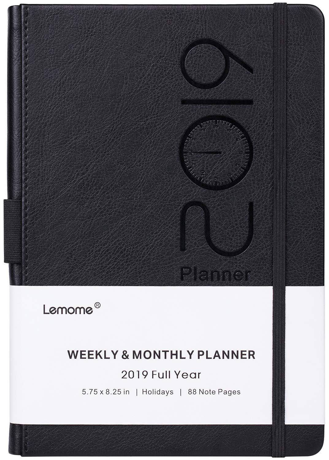 Planner 2019 – Academic Weekly, Monthly and Year Planner with Pen Loop, to Achieve Your Goals & Improve Productivity, Thick Paper, Inner Pocket, 5.75'' x 8.25'', Black
