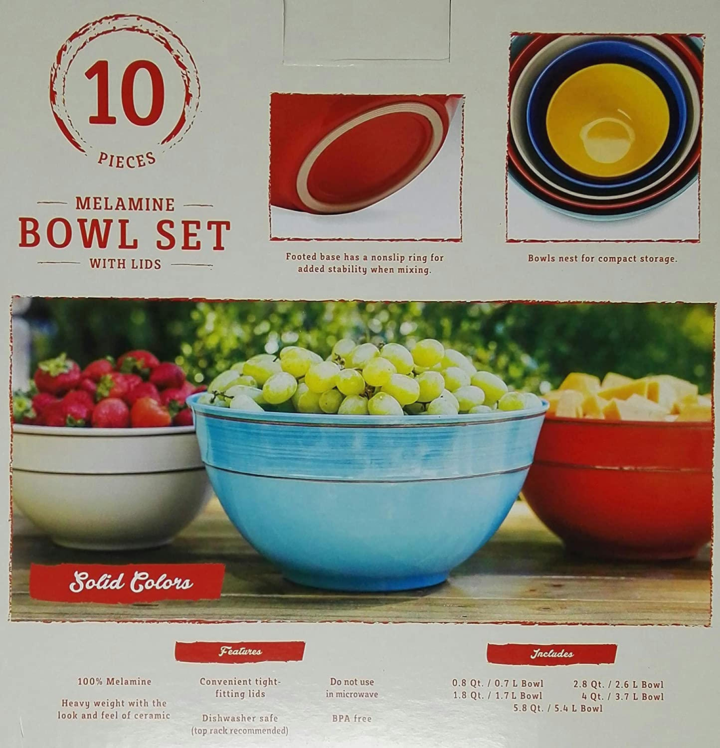 Solid Colors Melamine 10-Piece Mixing Bowl Set