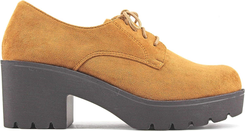 Modelisa - Zapatos Blucher Tacón Ancho para Mujer