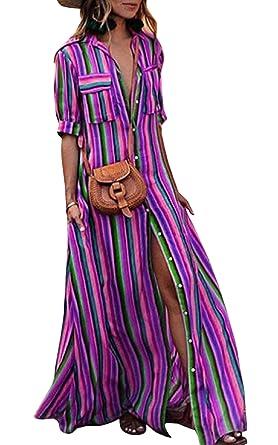 gehobene Qualität a6afc 1ae08 ECOWISH Damen Kleid Boho Gestreift Bunt Sommerkleid Lose Casual Taschen  Kragen Button Down Blusenkleid Halber Ärmel Langes Maxikleid
