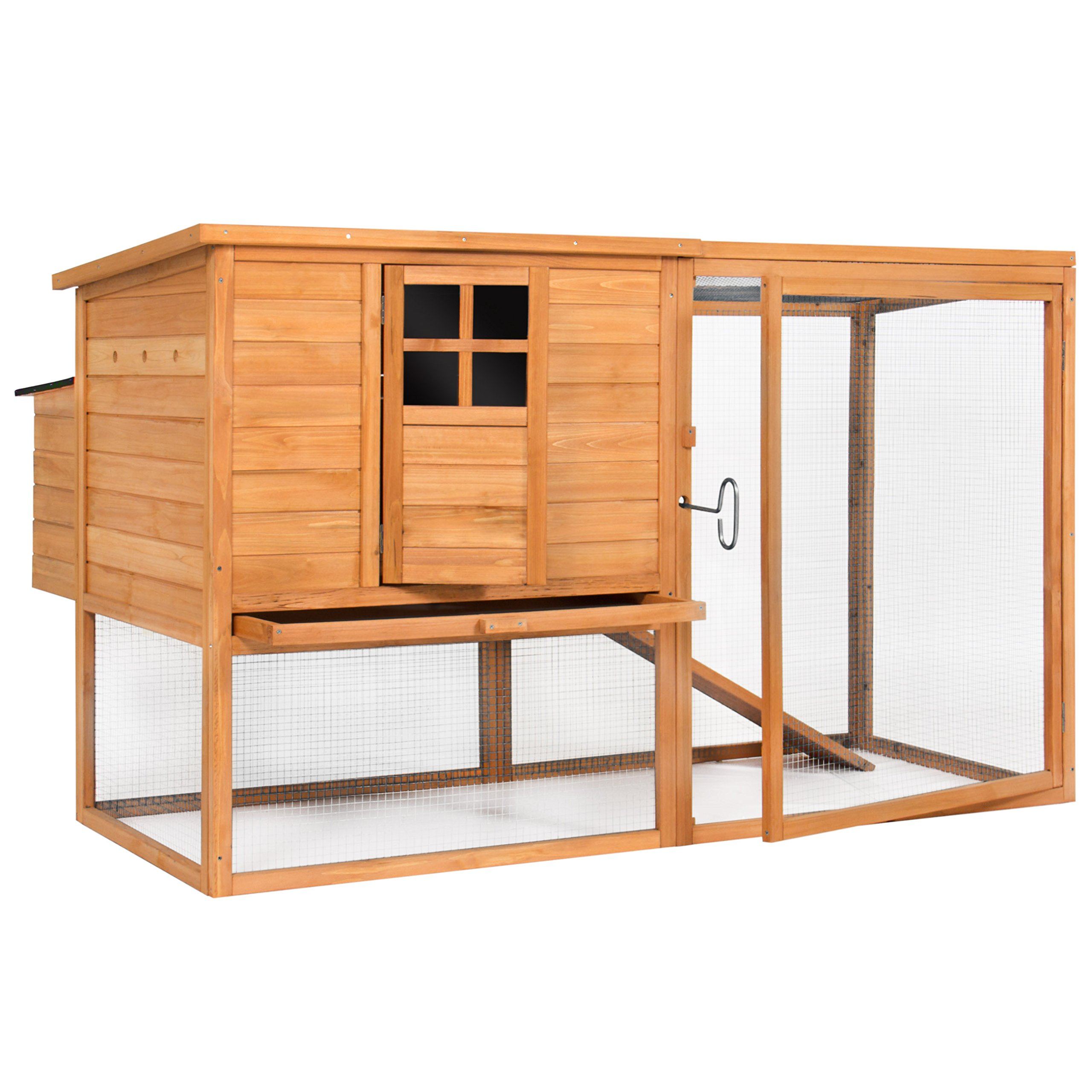 Best Choice Products Outdoor Wooden Chicken Coop Nesting Hen House, 66in, Brown, w/Poultry Cage by Best Choice Products