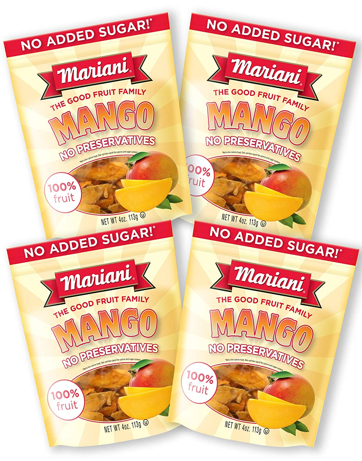 Mariani - Dried Mango - 4oz (Pack of 4) - Unsweetened & Unsulfured - 100% Fruit