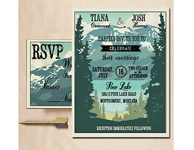 amazon com woodsy wedding invitation mountain wedding invitations