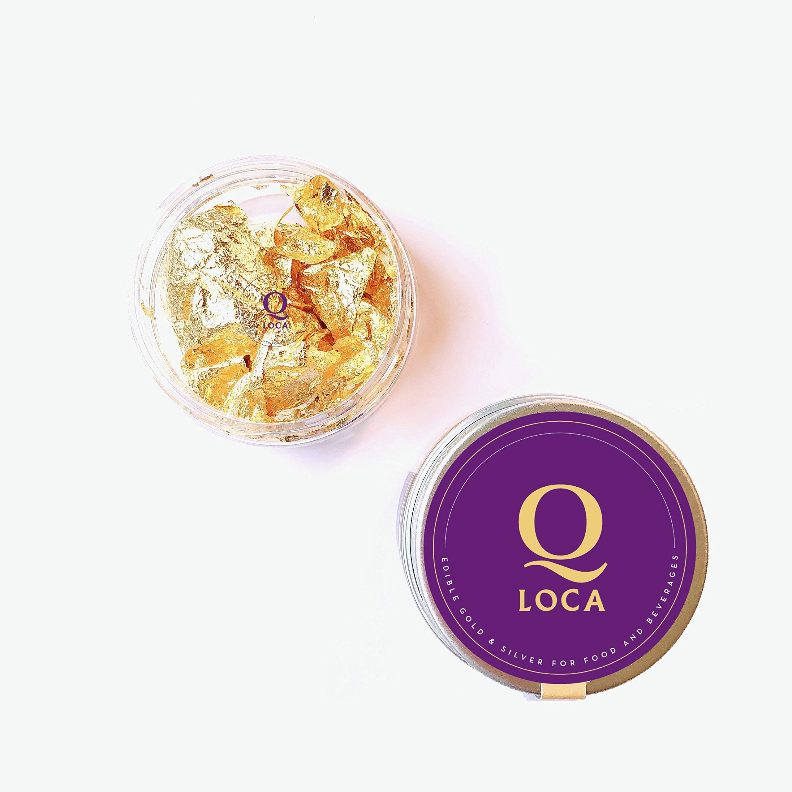 23.75K Edible Gold Leaf Flakes, Decorating Cake, Cupcake (30 mg) by Q-loca (Image #2)