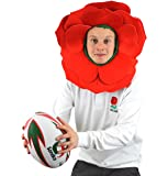 ROSE HAT FLOWER FANCY DRESS ENGLAND SPORT SUPPORTERS HEADWEAR RED PETALS WITH GREEN HOOD ENGLISH ROSE