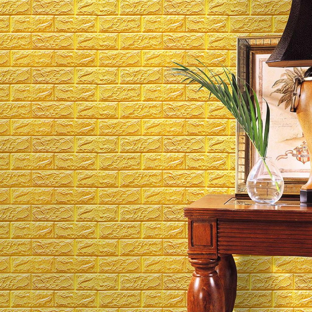 Amazon.com: Perman Yellow Brick Wallpaper Tiles Self-adhesive 3D ...