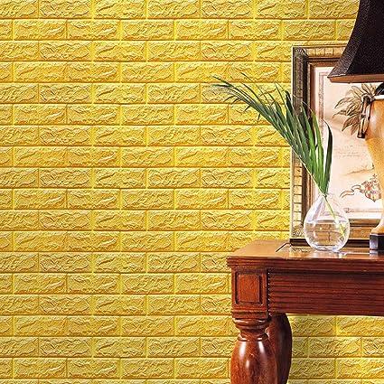 Amazon.com: Perman Yellow Brick Wallpaper Tiles Self-adhesive 3D ...