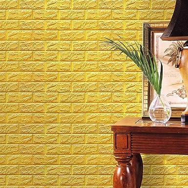 Perman Yellow Brick Wallpaper Tiles Self-adhesive 3D Foam Wall ...