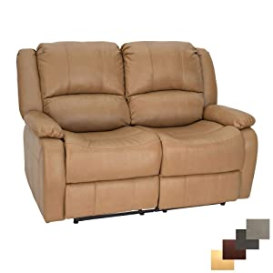 """RecPro Charles Collection   58"""" Double Recliner RV Sofa   RV Zero Wall Loveseat   Wall Hugger Recliner   RV Theater Seating   RV Furniture   RV Sofa   RV Sofa Bed   Toffee"""
