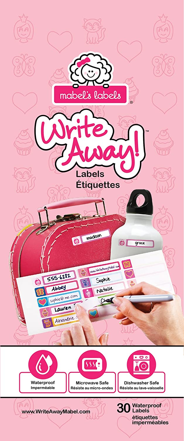 Write Away! 30 Peel and Stick Labels for Girls (Pink) 40859120