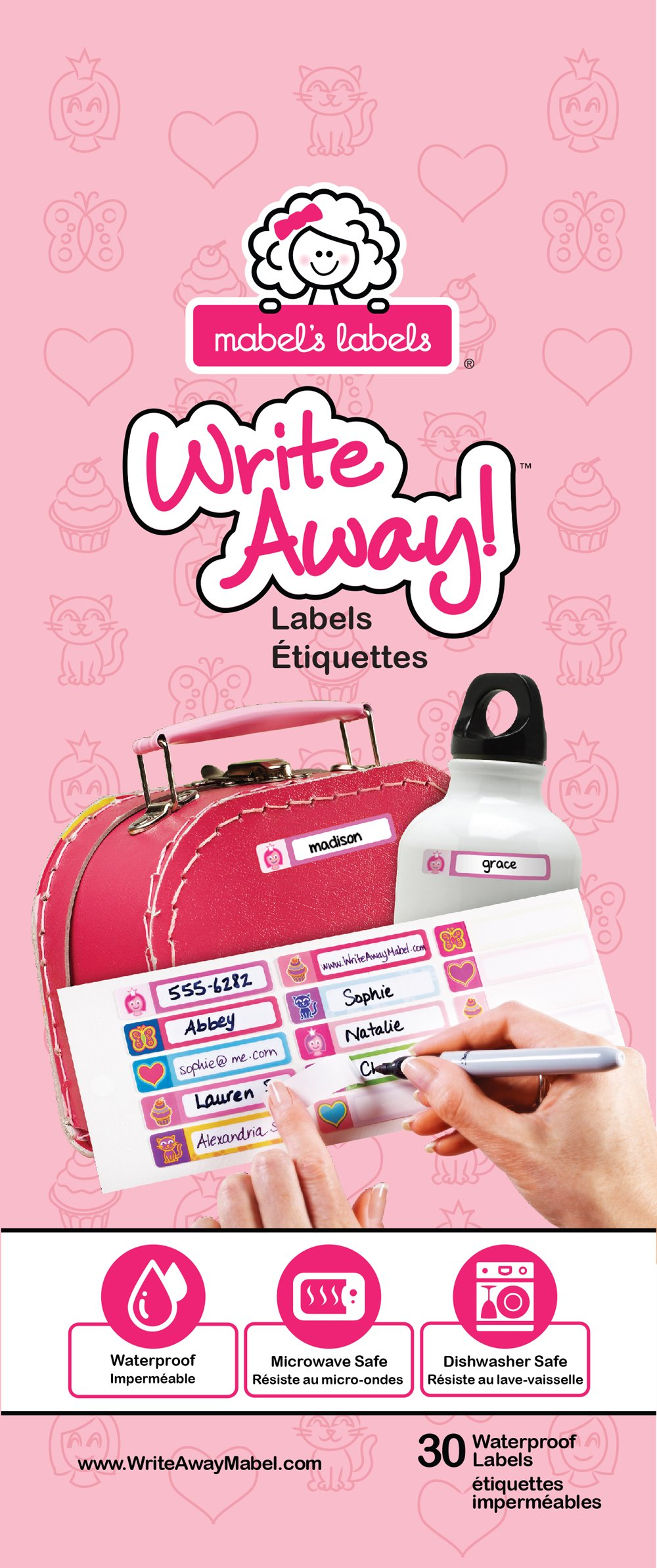 Mabel's Labels - Self-laminating, Write On Name Labels for kids (Girls - cute Icons), Waterproof, Dishwasher and Microwave Safe, 30 Labels ready for School, Daycare & Camp