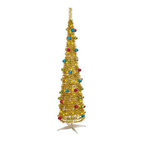 Pop Up Christmas Tree.The Christmas Workshop 88210 6 Foot 6ft Decorated Slim Line Pop Up Christmas Tree Gold