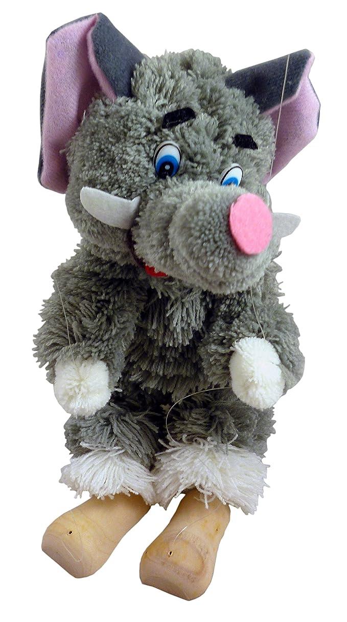 Elephant Marionnette - Jambes à Cordes - 25cm Peluche avec manche en bois - animaux jouets - Classic Toys
