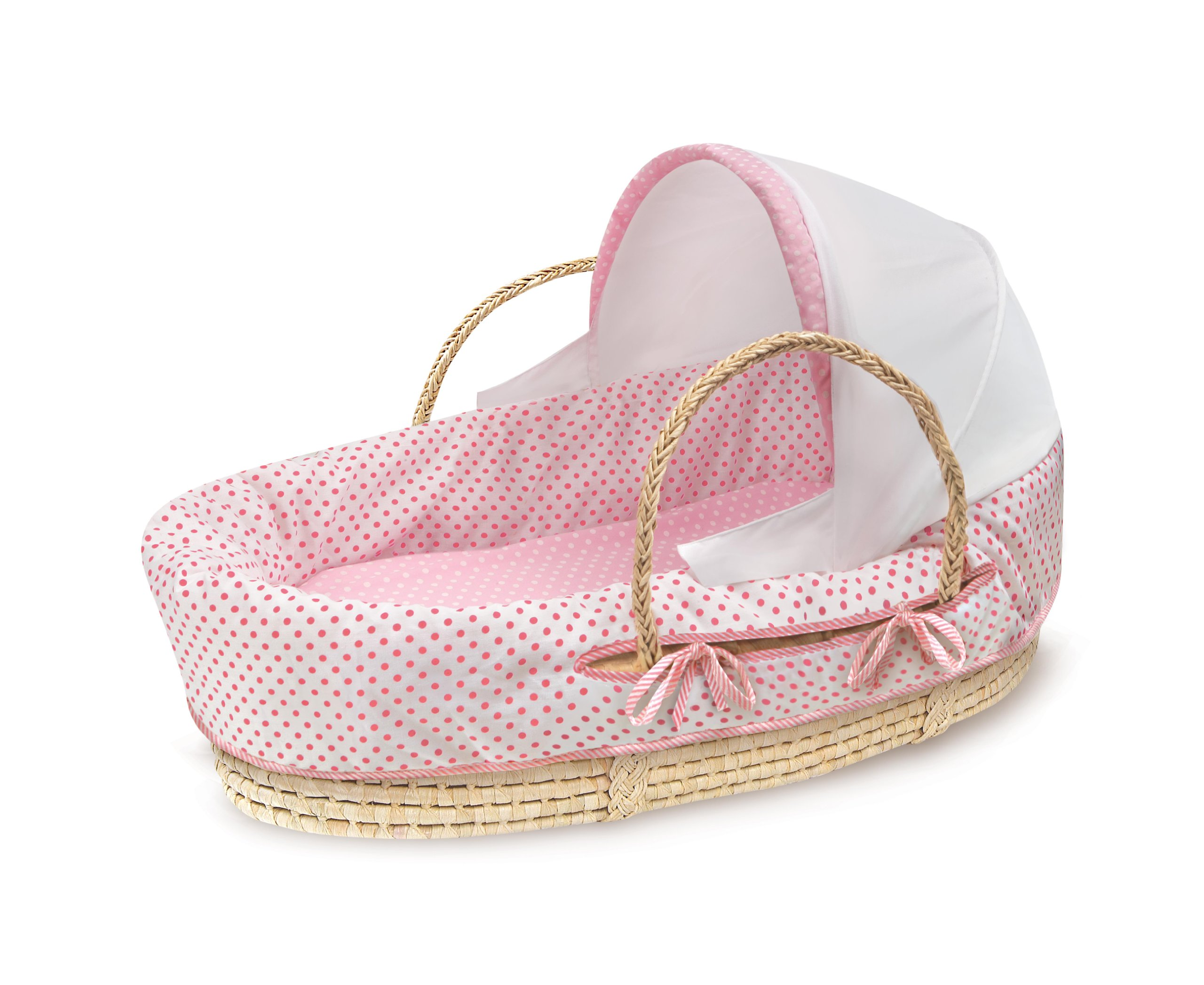 Badger Basket Natural Moses Basket with Fabric Canopy, Pink Polka Dot