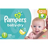 Pampers Baby-Dry Disposable Diapers Size 1, 120 Count, SUPER