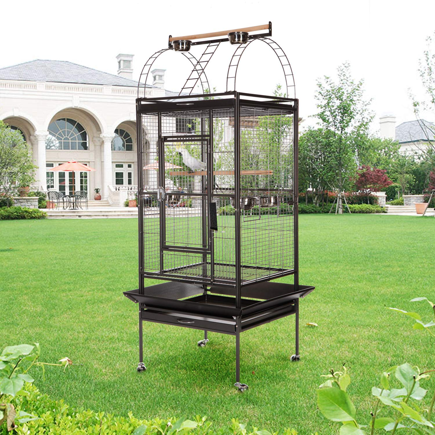 63979b3ac667 VECELA Bird cage Wrought Iron Flight cage Parrot cage 53/61/68inch ...