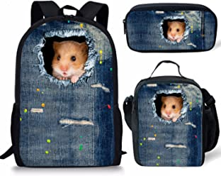 cecb6f0c166b Nopersonality School Bags for Boys Teenage Funny Hamster Backpack + Lunch  Bag + Pencil Case 3PCS