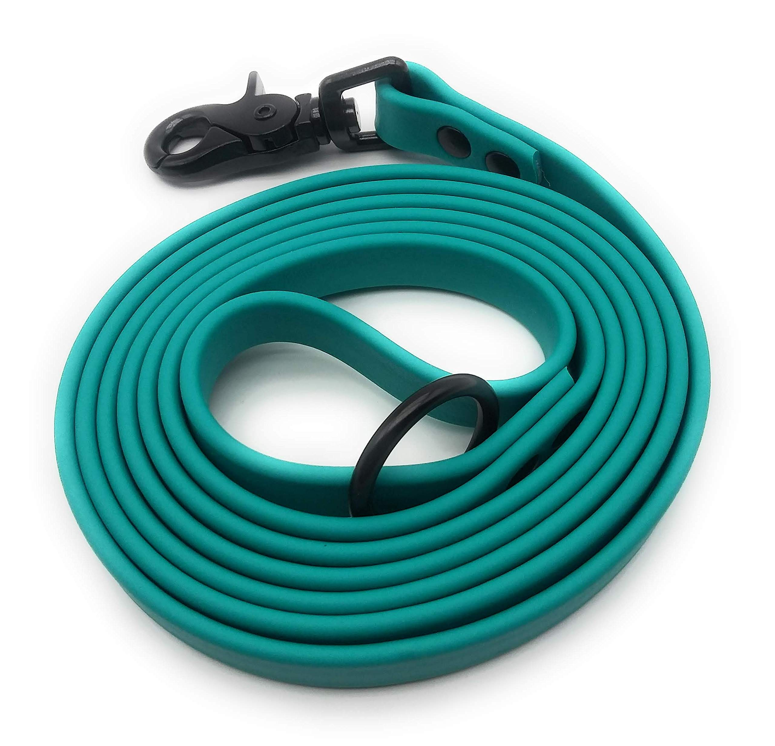 Furbaby Products Dog Training Leash Made for Puppy, Medium, and Large Dogs Made from Biothane Material with Black Hardware (6ft, Teal) by Furbaby Products