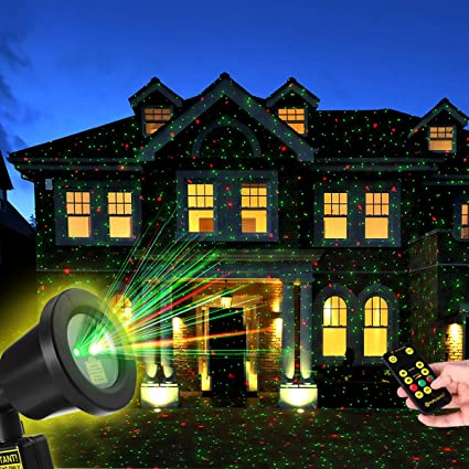 Christmas Light Projector.Yunlights Christmas Light Projector With Rf Remote Control Red And Green Star Show Night Light Waterproof For Xmas Holiday Party Landscape Garden