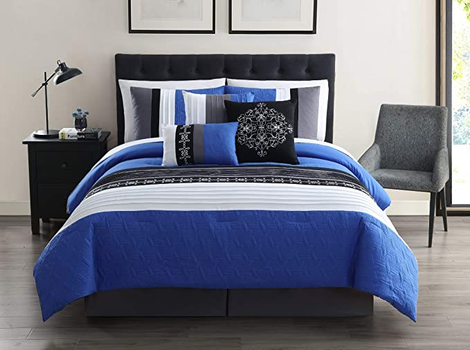 Chezmoi Collection 7-Piece Gray Pleated Stripe Micro Suede Comforter Set