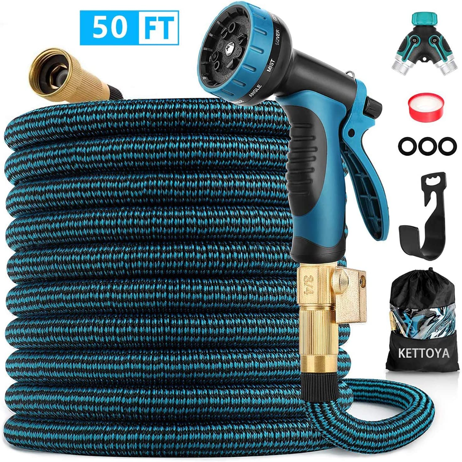KETTOYA Expandable Garden Hose 50 FT, Heavy Duty Water Hose with 10 Patterns Spray Nozzle and Durable Latex Core, 3/4 Inch Solid Brass Fittings, Flexible Lightweight Retractable Shrinkable Water Hose