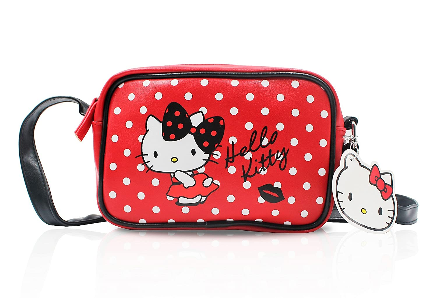 Finex One Medium Size Hello Kitty Red and White Polka Dot Crossbody Handbag Rectangular Bag