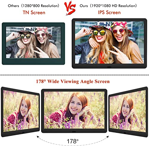 10 Inch Digital Picture Frame 16 9 1920×1080 IPS Widescreen, Digital Photo Frame Supports Adjustable Slideshow Brightness 1080P FHD Video Music Alarm 128G SD-White