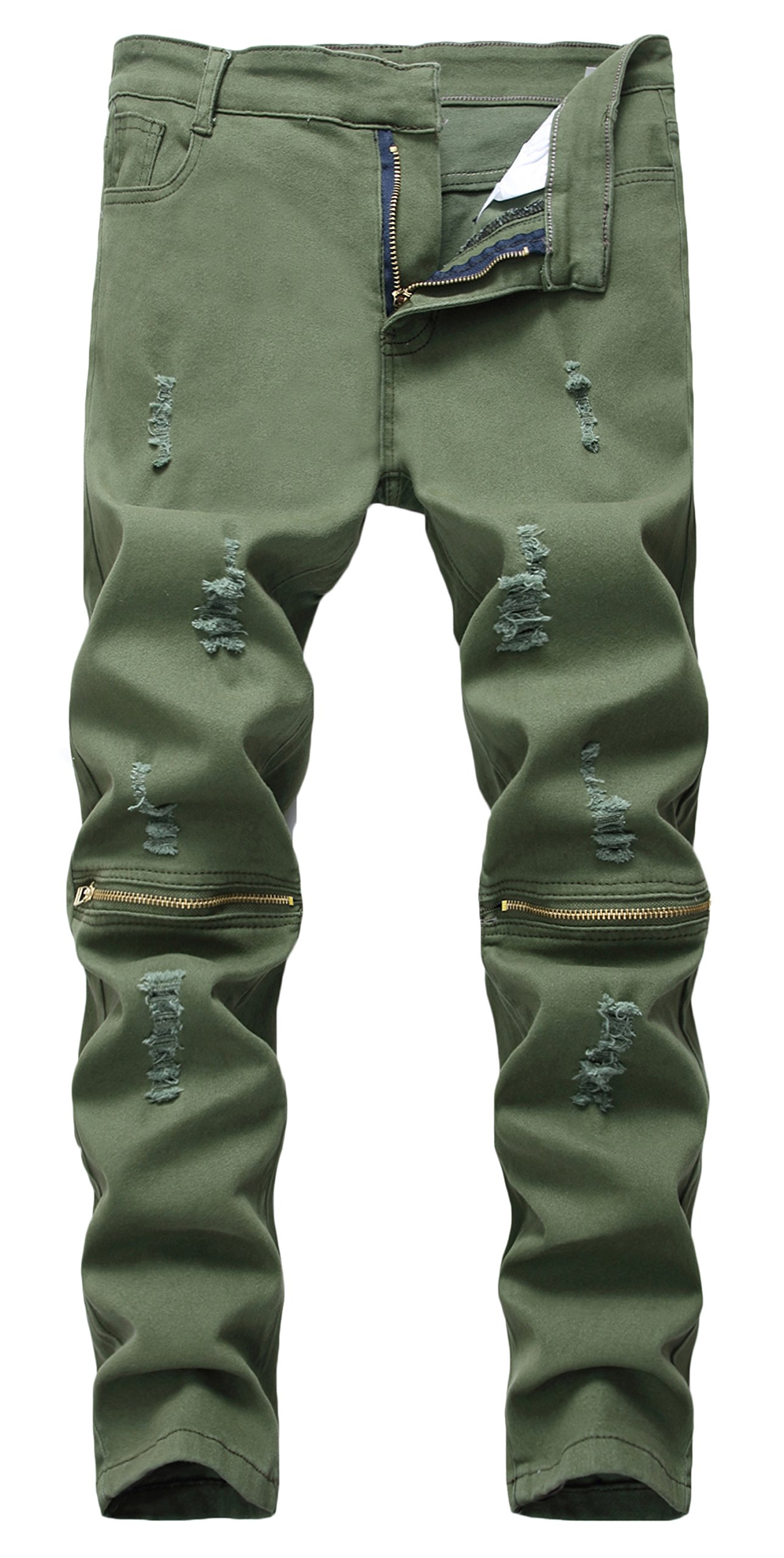 Boy's Ripped Skinny Jeans Destroyed Stretch Slim Distressed Pants (12, Army Green)