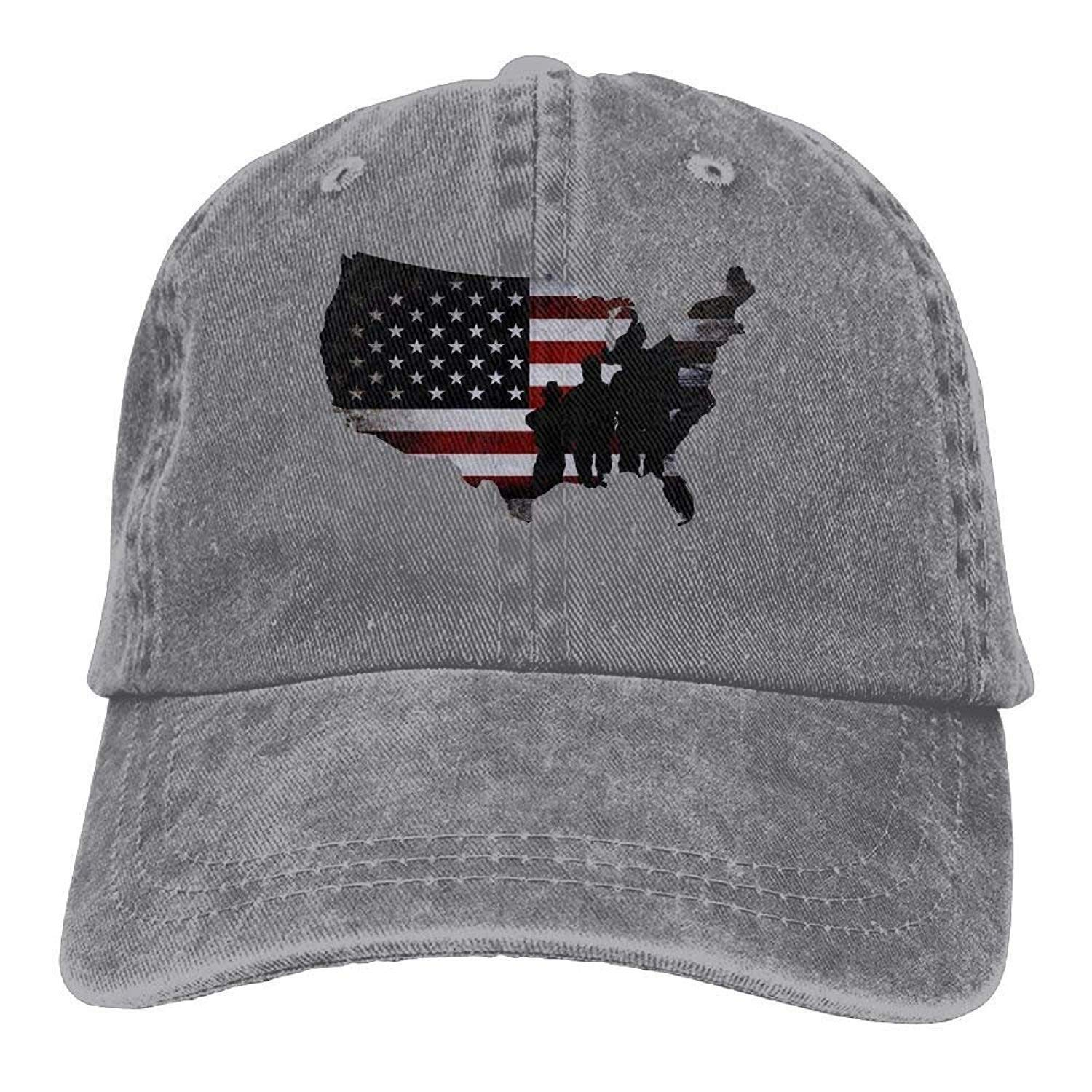 JTRVW Adults Veterans Day US Flag Map Adjustable Casual Cool Baseball Cap Retro Cowboy Hat Cotton Dyed Caps