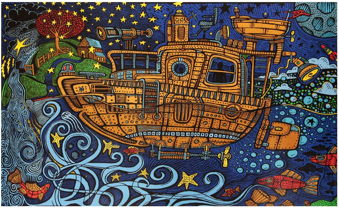 Sunshine Joy 3D Steampunk Tugboat Tapestry Wall Hanging Trippy Table Cloth Magical Dorm Decor – Huge 60×90 Inches