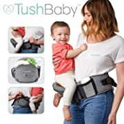TushBaby The Only Safety Certified Hip Seat Baby Carrier - As Seen On Shark Tank-Adjustable, Machine Washable, Ergonomic Newborn + Toddler + Child Carrier, Safe Ultra-Comfortable Waist Carrier Black