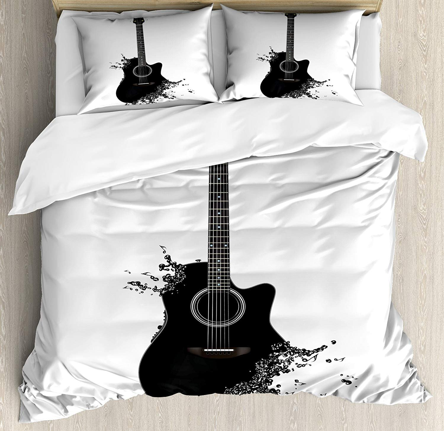 Black White,Twin Size TweetyBed 20180716HYJA-AMBS-545Twin Guitar Bedding Sets Monochrome Musical Instrument with Strings Acoustic Color Splashes Creative Outlet 4 Piece Duvet Cover Set Quilt Bedspread for Childrens//Kids//Teens//Adults