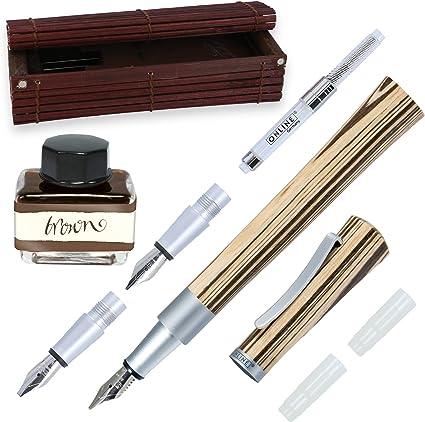 Online 37712 - Juego de plumas estilográficas (1,4 mm, agarres 0,8 y 1,8 mm, frasco de tinta marrón y convertidor, caja de bambú): Amazon.es: Oficina y papelería