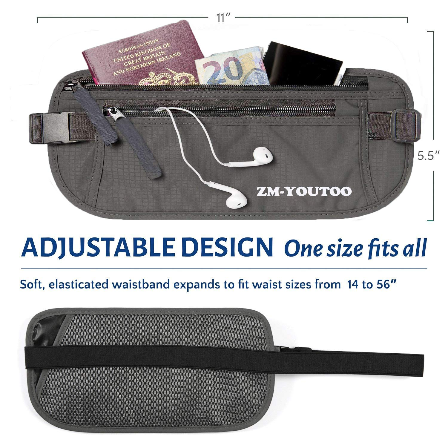 9bee5b4a2a3c ZM-YOUTOO Travel Hidden Money Belt Pouch with RFID Blocking ...