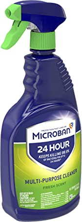 Microban 24 Hour Multi-Purpose Cleaner, Sanitizing and Disinfectant Spray, Fresh Scent, 22 Ounce (Pack of 2)
