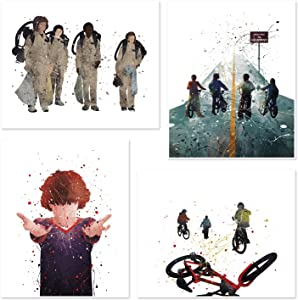 Stranger Things Poster Inspired Watercolor Wall Art Prints - Set of 4 Decor Painting Paper 8x10