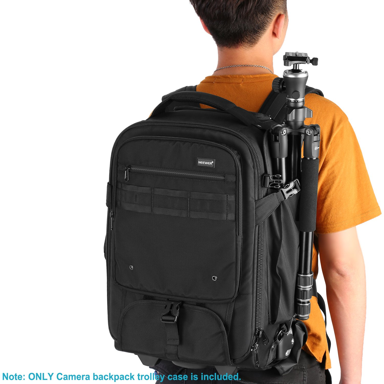 Hidden Pull Bar Durable Black Neewer 2-in-1 Rolling Camera Backpack Trolley Case with Side Handle- Anti-Shock Detachable Padded Compartment Waterproof for Camera,Tripod,Flash Light,Lens,Laptop