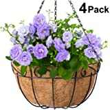 4 Pack Metal Hanging Planter Basket With Coco Coir Liner 14 Inch Round Wire Plant Holder With Chain Porch Decor Flower Pots Hanger Garden Decoration Indoor Outdoor Watering Hanging Baskets