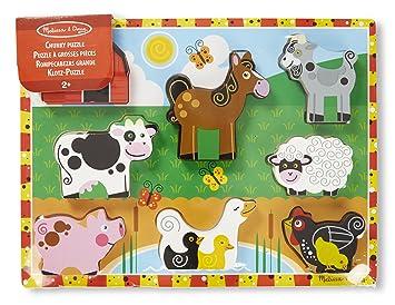 Melissa Doug Farm Wooden Chunky Puzzle 8 Pieces