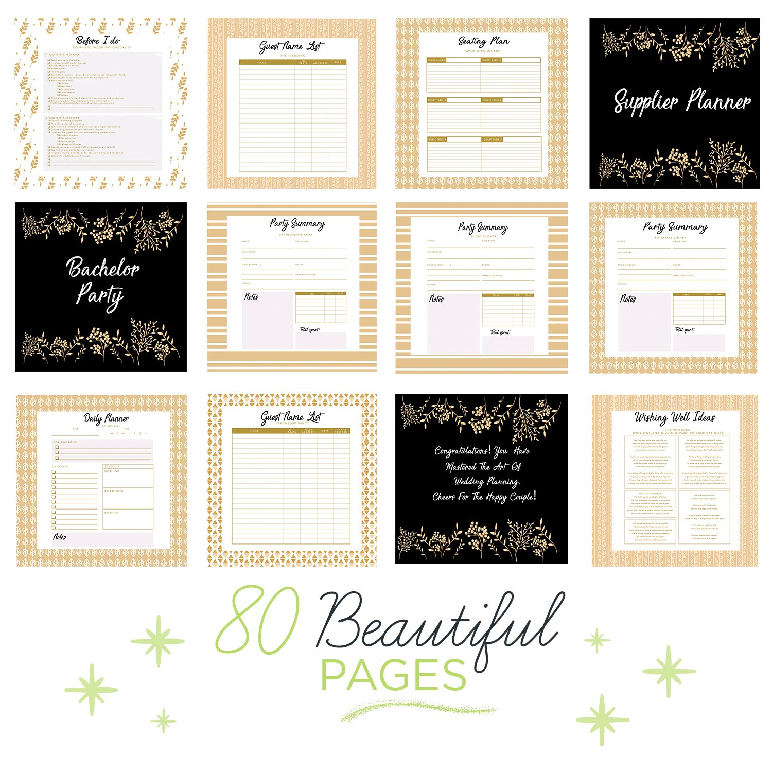 The Ultimate Wedding Planner – A Complete 80 Pages Hardcover Organizer that Includes Checklists, Party Planner, Budget Organizer, Honeymoon and More to Help You Organize The Wedding of Your Dreams! by Unconditional Rosie (Image #4)